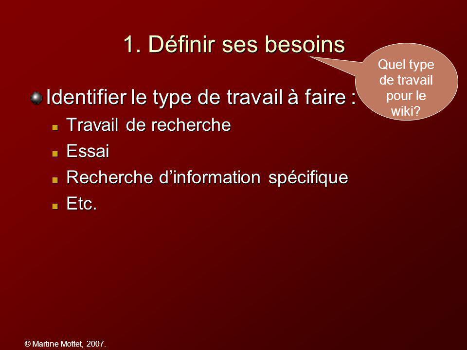 © Martine Mottet, 2007.2. Préparer sa recherche Quelle question.