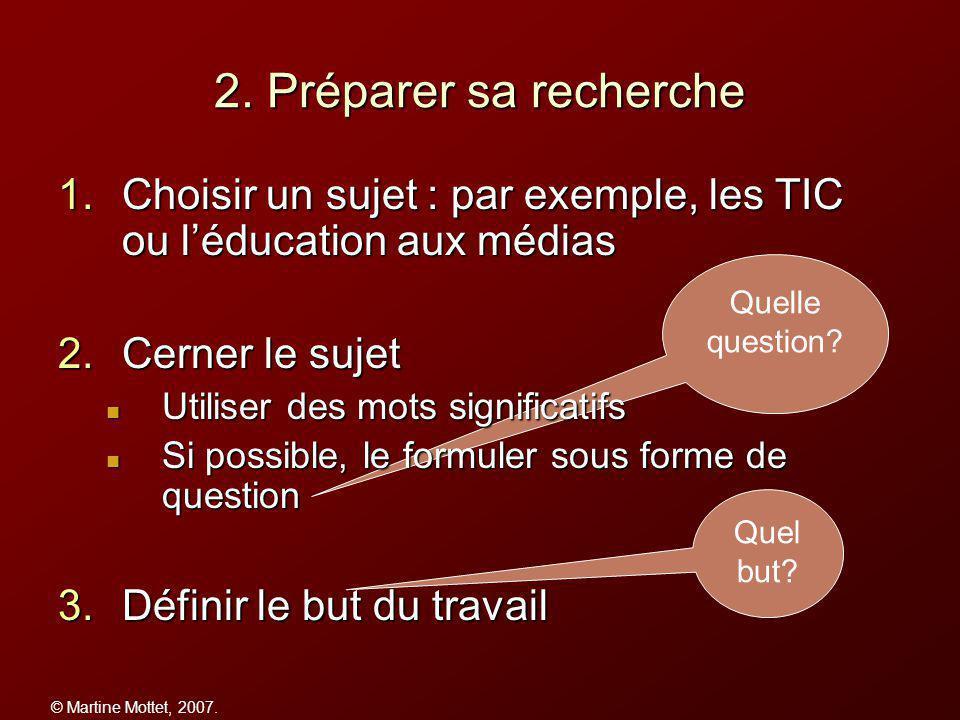 © Martine Mottet, 2007. 2. Préparer sa recherche Quelle question.