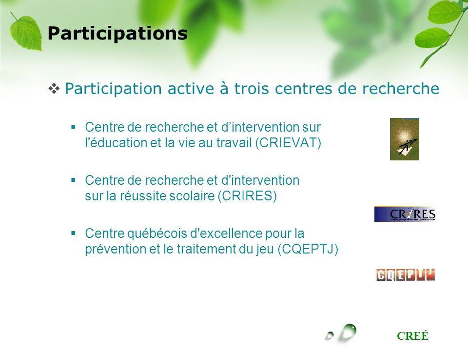 CREÉ Participations Participation active à trois centres de recherche Centre de recherche et dintervention sur l'éducation et la vie au travail (CRIEV