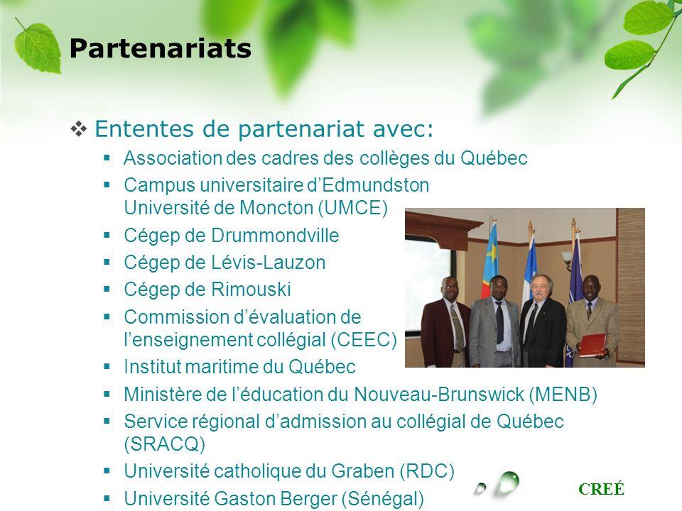 CREÉ Partenariats Ententes de partenariat avec: Association des cadres des collèges du Québec Campus universitaire dEdmundston Université de Moncton (UMCE) Cégep de Drummondville Cégep de Lévis-Lauzon Cégep de Rimouski Commission dévaluation de lenseignement collégial (CEEC) Institut maritime du Québec Ministère de léducation du Nouveau-Brunswick (MENB) Service régional dadmission au collégial de Québec (SRACQ) Université catholique du Graben (RDC) Université Gaston Berger (Sénégal)