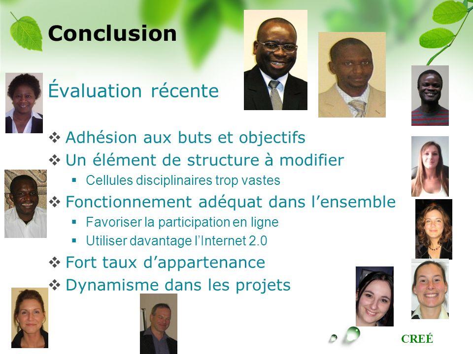 CREÉ Conclusion Évaluation récente Adhésion aux buts et objectifs Un élément de structure à modifier Cellules disciplinaires trop vastes Fonctionnemen