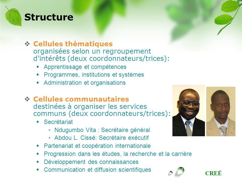 CREÉ Structure Cellules thématiques organisées selon un regroupement d'intérêts (deux coordonnateurs/trices): Apprentissage et compétences Programmes,