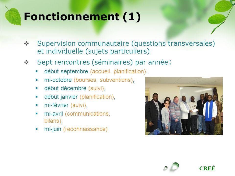 CREÉ Fonctionnement (1) Supervision communautaire (questions transversales) et individuelle (sujets particuliers) Sept rencontres (séminaires) par ann