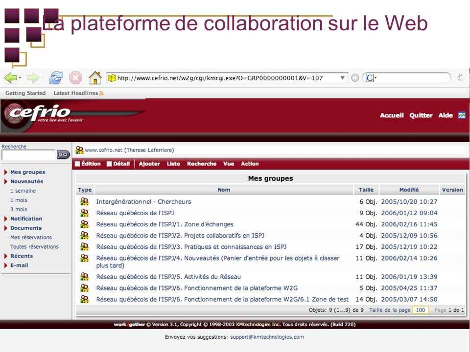 La plateforme de collaboration sur le Web