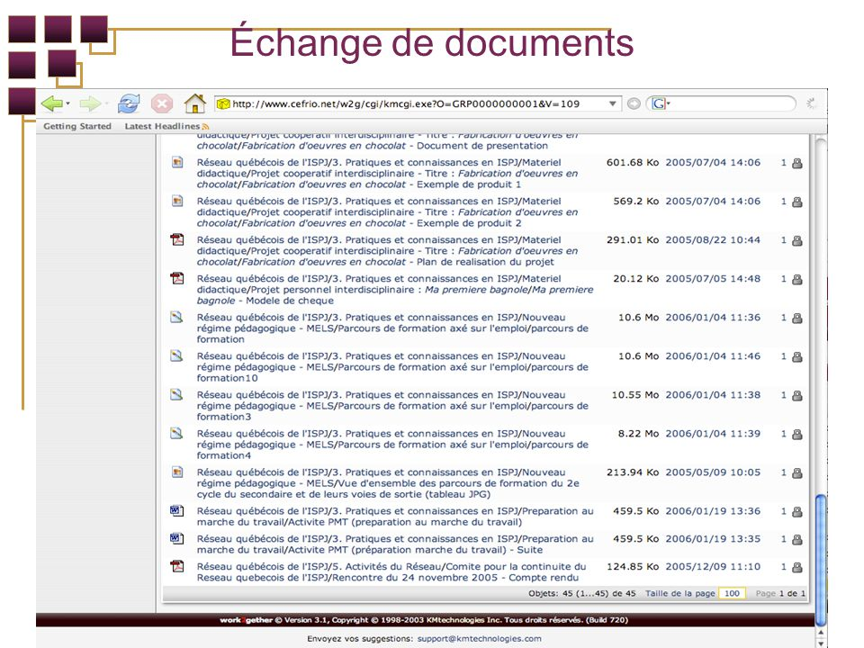 Échange de documents