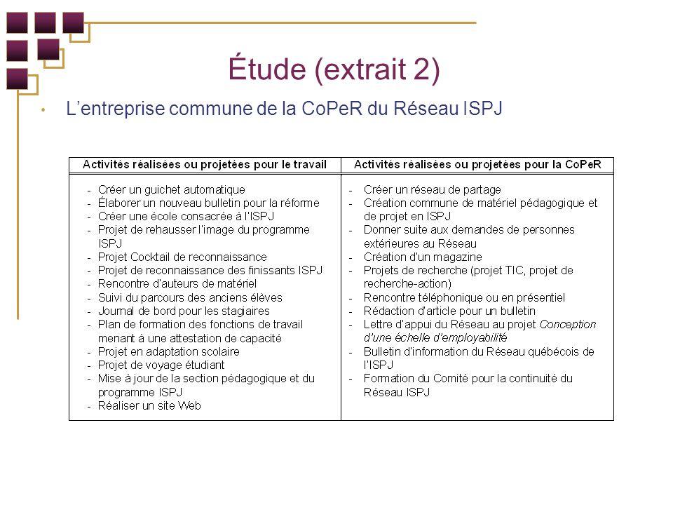 Étude (extrait 2) Lentreprise commune de la CoPeR du Réseau ISPJ