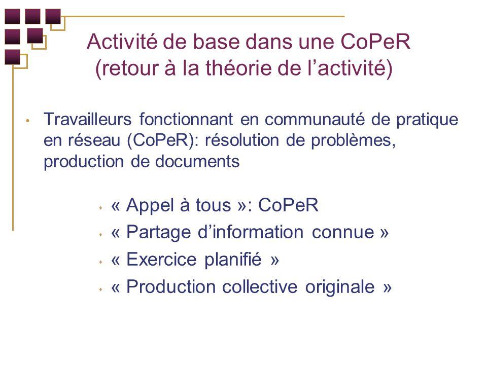 Travailleurs fonctionnant en communauté de pratique en réseau (CoPeR): résolution de problèmes, production de documents « Appel à tous »: CoPeR « Partage dinformation connue » « Exercice planifié » « Production collective originale » Activité de base dans une CoPeR (retour à la théorie de lactivité)