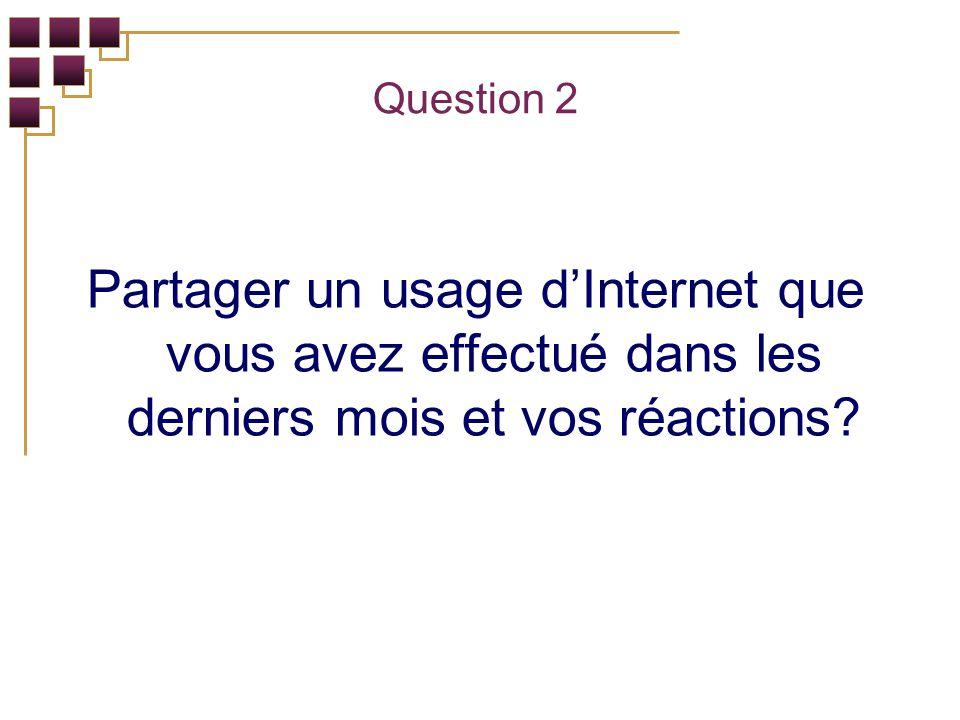 Question 2 Partager un usage dInternet que vous avez effectué dans les derniers mois et vos réactions