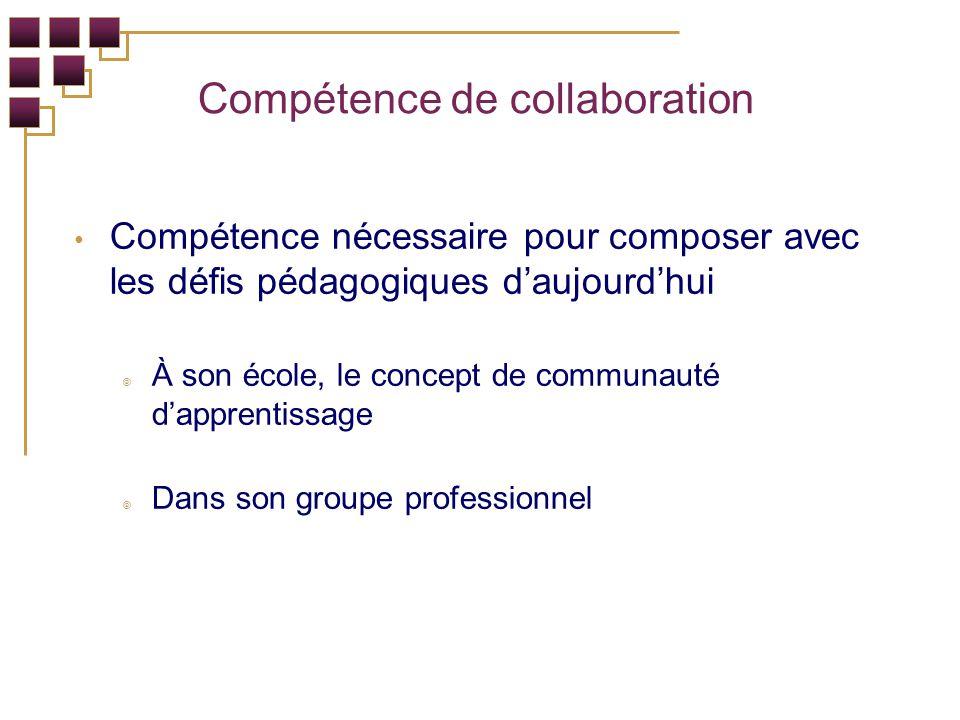 Compétence de collaboration Compétence nécessaire pour composer avec les défis pédagogiques daujourdhui À son école, le concept de communauté dapprentissage Dans son groupe professionnel