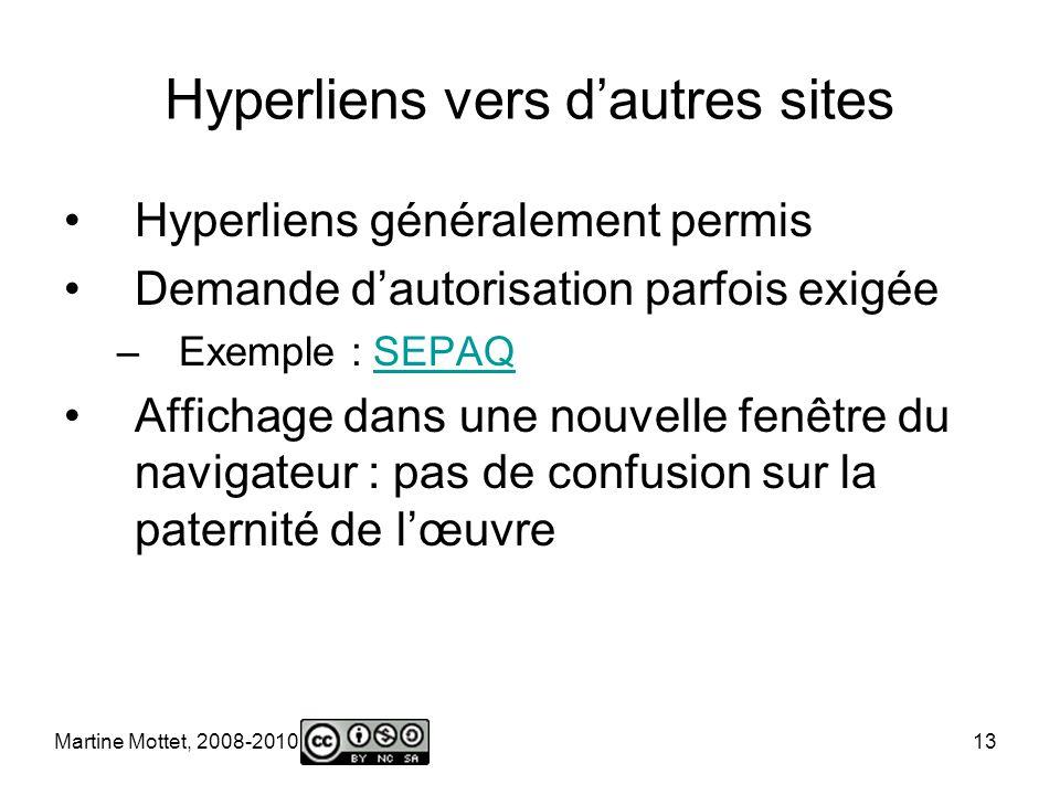 Martine Mottet, 2008-2010 13 Hyperliens vers dautres sites Hyperliens généralement permis Demande dautorisation parfois exigée –Exemple : SEPAQSEPAQ Affichage dans une nouvelle fenêtre du navigateur : pas de confusion sur la paternité de lœuvre
