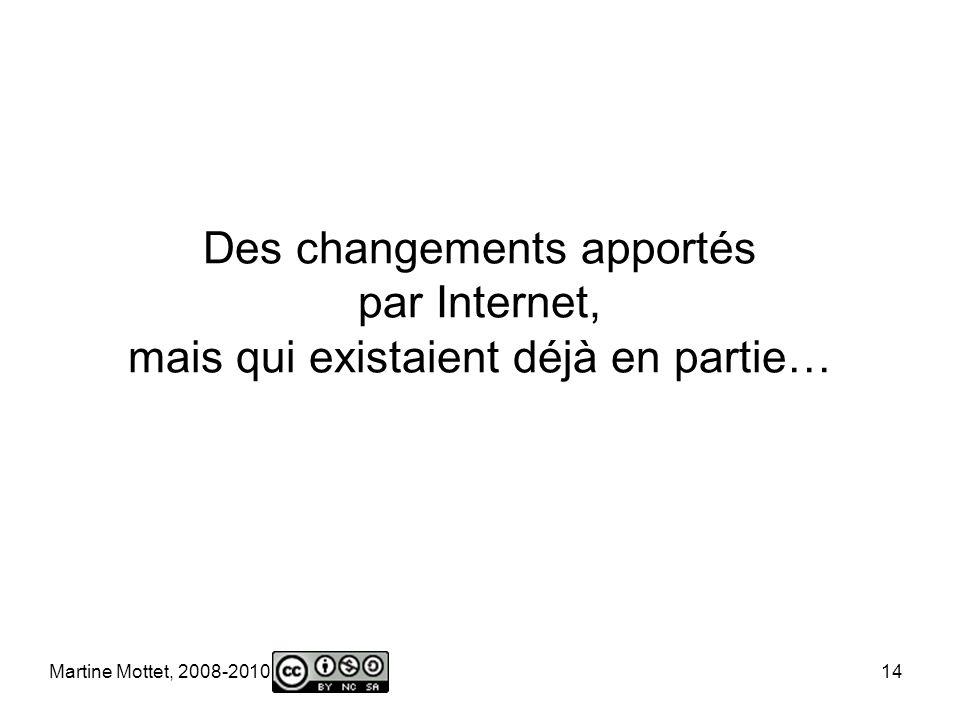 Martine Mottet, 2008-2010 14 Des changements apportés par Internet, mais qui existaient déjà en partie…