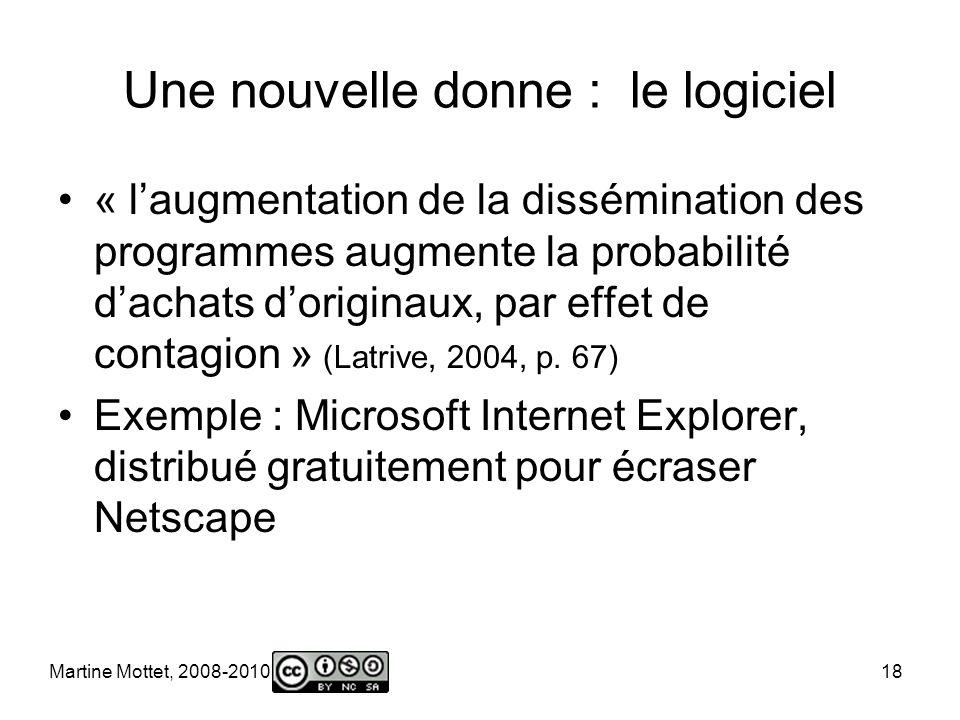 Martine Mottet, 2008-2010 18 Une nouvelle donne : le logiciel « laugmentation de la dissémination des programmes augmente la probabilité dachats doriginaux, par effet de contagion » (Latrive, 2004, p.