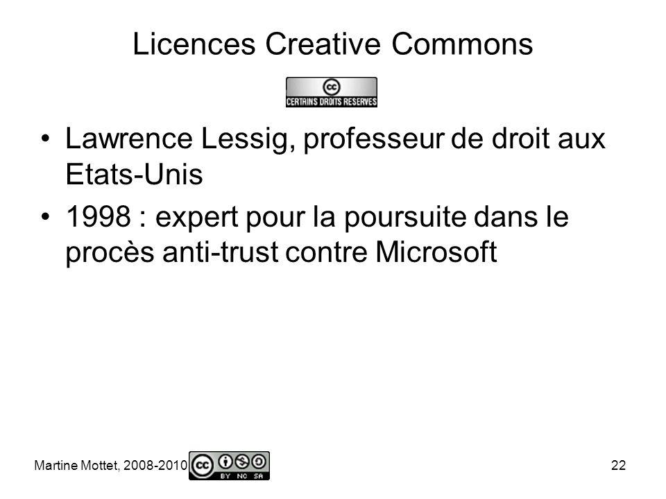 Martine Mottet, 2008-2010 22 Licences Creative Commons Lawrence Lessig, professeur de droit aux Etats-Unis 1998 : expert pour la poursuite dans le procès anti-trust contre Microsoft
