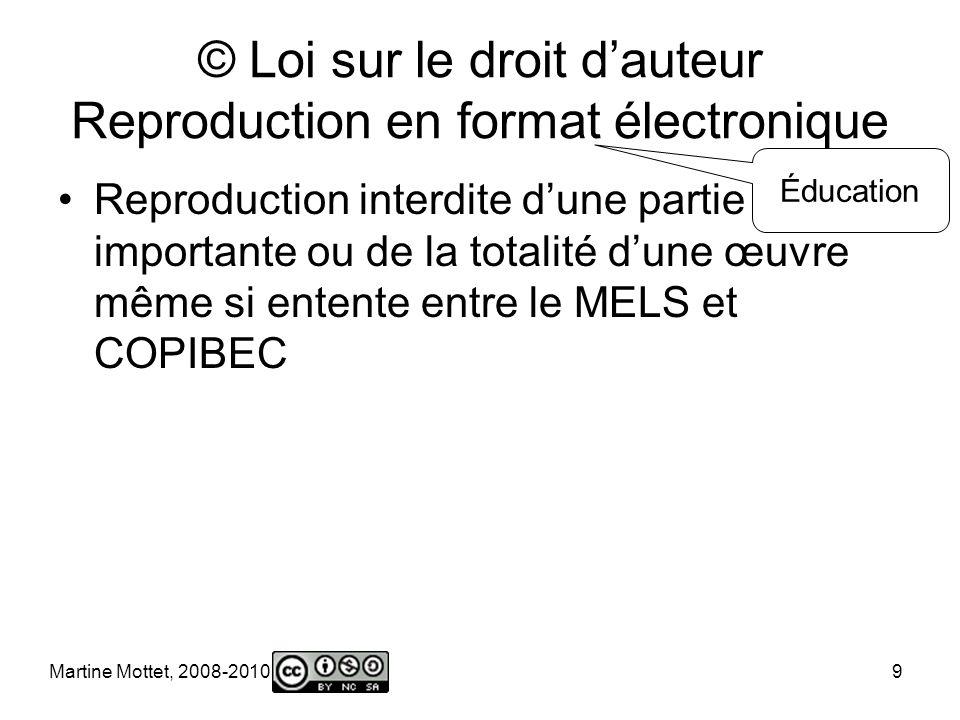Martine Mottet, 2008-2010 9 © Loi sur le droit dauteur Reproduction en format électronique Reproduction interdite dune partie importante ou de la totalité dune œuvre même si entente entre le MELS et COPIBEC Éducation