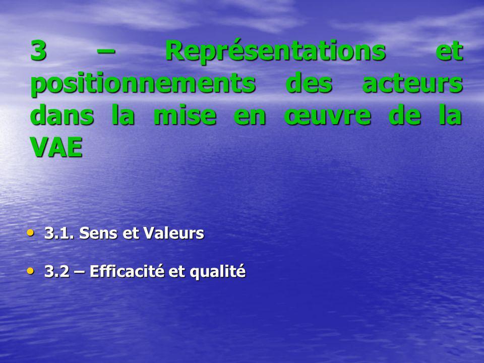 3 – Représentations et positionnements des acteurs dans la mise en œuvre de la VAE 3.1.