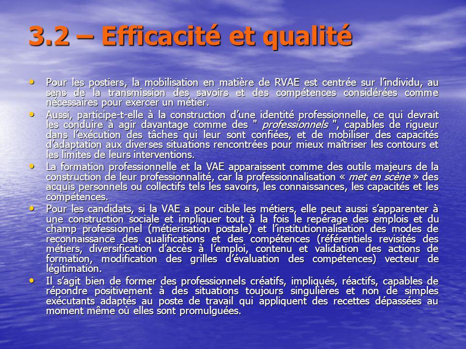 3.2 – Efficacité et qualité Pour les postiers, la mobilisation en matière de RVAE est centrée sur lindividu, au sens de la transmission des savoirs et des compétences considérées comme nécessaires pour exercer un métier.
