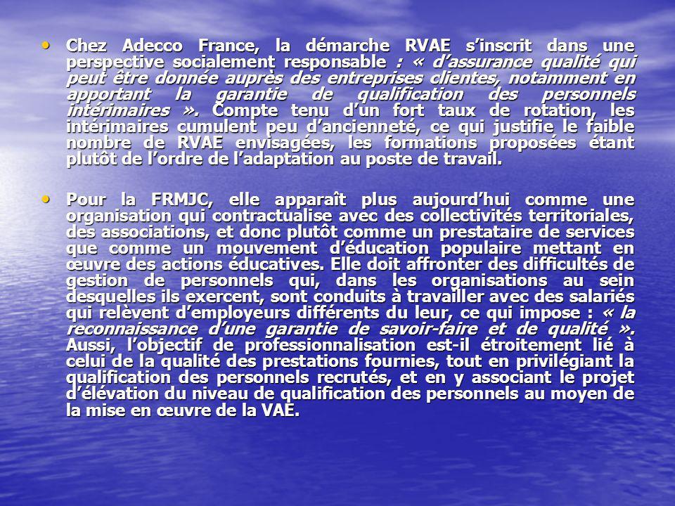 Chez Adecco France, la démarche RVAE sinscrit dans une perspective socialement responsable : « dassurance qualité qui peut être donnée auprès des entreprises clientes, notamment en apportant la garantie de qualification des personnels intérimaires ».