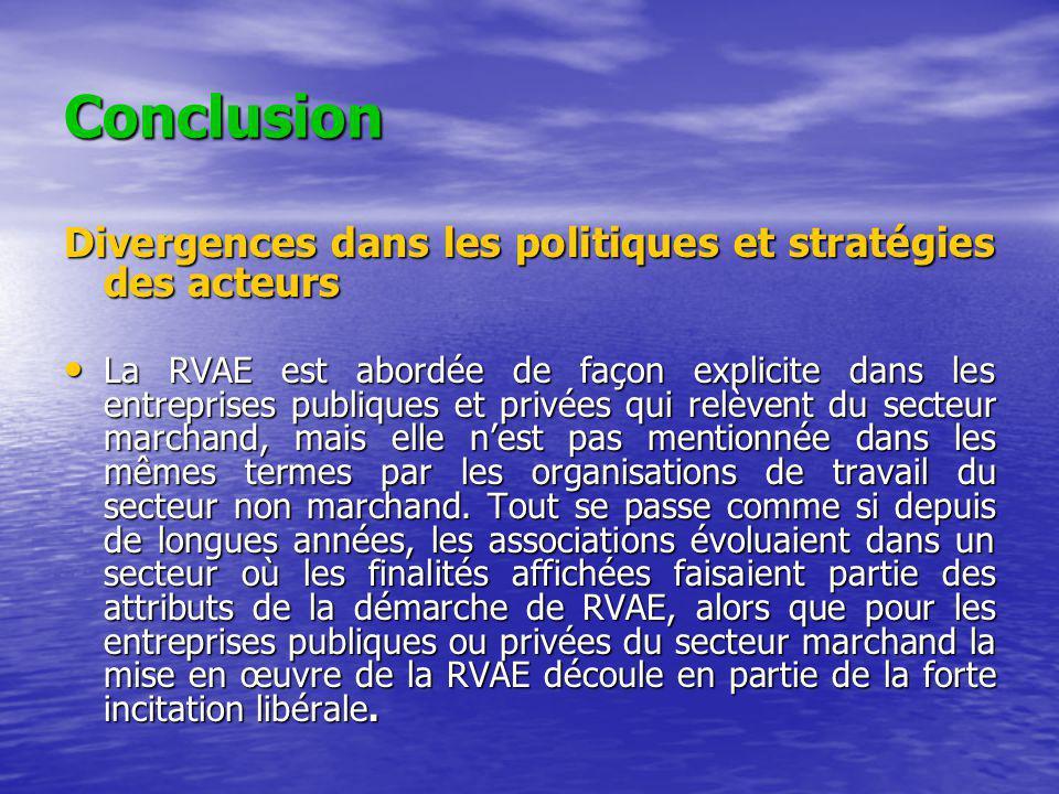 Conclusion Divergences dans les politiques et stratégies des acteurs La RVAE est abordée de façon explicite dans les entreprises publiques et privées qui relèvent du secteur marchand, mais elle nest pas mentionnée dans les mêmes termes par les organisations de travail du secteur non marchand.