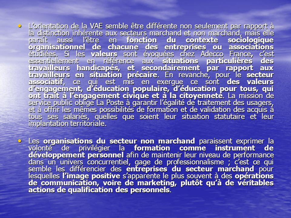 Lorientation de la VAE semble être différente non seulement par rapport à la distinction inhérente aux secteurs marchand et non marchand, mais elle paraît aussi lêtre en fonction du contexte sociologique organisationnel de chacune des entreprises ou associations étudiées.