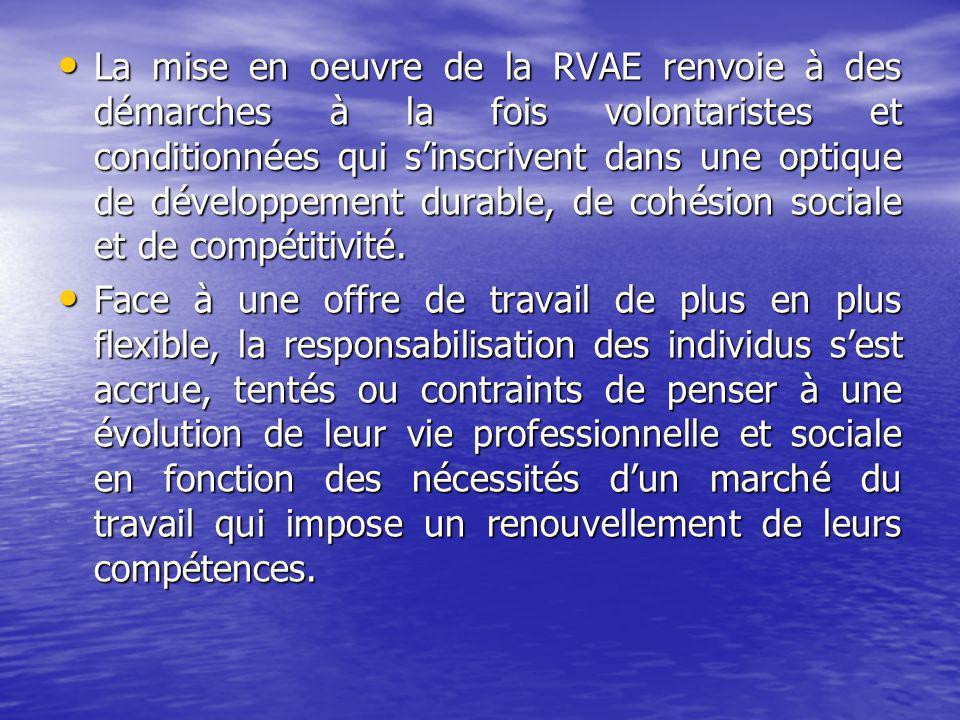 La mise en oeuvre de la RVAE renvoie à des démarches à la fois volontaristes et conditionnées qui sinscrivent dans une optique de développement durable, de cohésion sociale et de compétitivité.