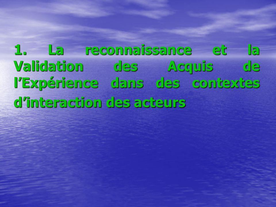 1. La reconnaissance et la Validation des Acquis de lExpérience dans des contextes dinteraction des acteurs