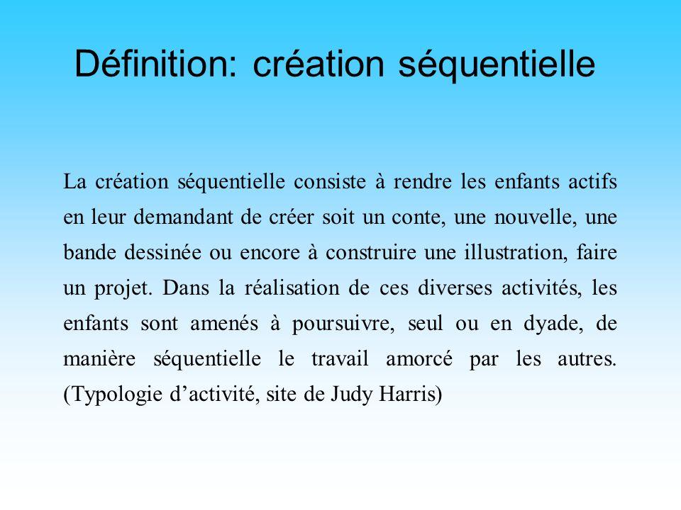 Plan de la communication Courte description de la création séquentielle Différentes appellations Description détaillée du déroulement de ce genre dact