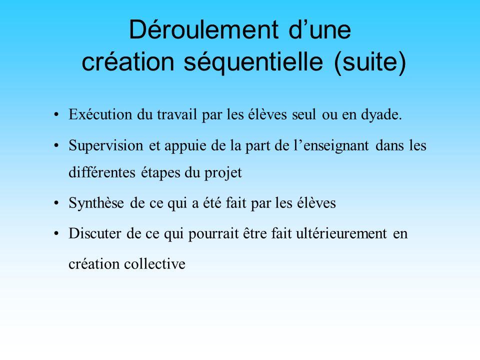Déroulement dune création séquentielle Mettre les enfants en contexte, explication des termes et des concepts reliés à lactivité Explication du matéri