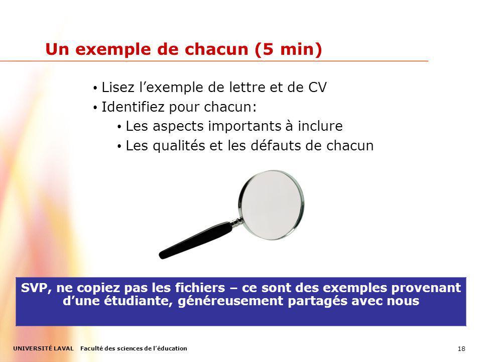 UNIVERSITÉ LAVAL Faculté des sciences de léducation Un exemple de chacun (5 min) SVP, ne copiez pas les fichiers – ce sont des exemples provenant dune