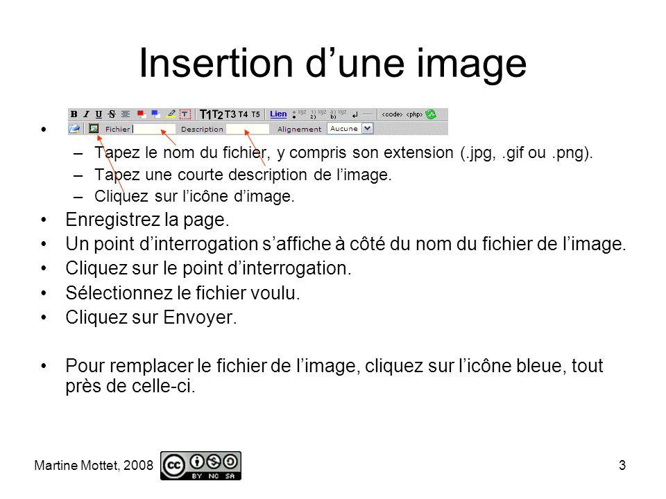 Martine Mottet, 2008 3 Insertion dune image –Tapez le nom du fichier, y compris son extension (.jpg,.gif ou.png).