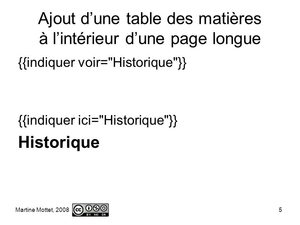 Martine Mottet, 2008 5 Ajout dune table des matières à lintérieur dune page longue {{indiquer voir= Historique }} {{indiquer ici= Historique }} Historique