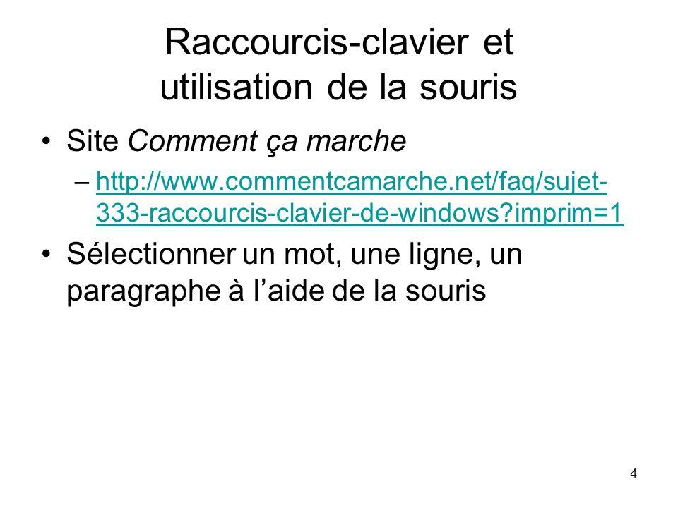 4 Raccourcis-clavier et utilisation de la souris Site Comment ça marche –http://www.commentcamarche.net/faq/sujet- 333-raccourcis-clavier-de-windows imprim=1http://www.commentcamarche.net/faq/sujet- 333-raccourcis-clavier-de-windows imprim=1 Sélectionner un mot, une ligne, un paragraphe à laide de la souris