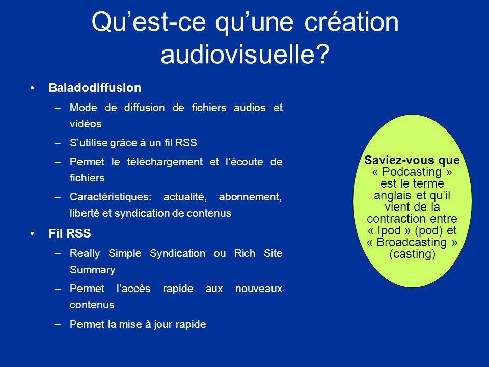 Quest-ce quune création audiovisuelle.