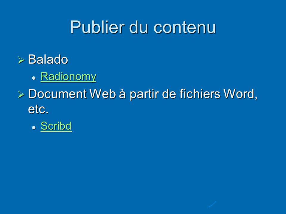 Publier du contenu Balado Balado Radionomy Radionomy Radionomy Document Web à partir de fichiers Word, etc.