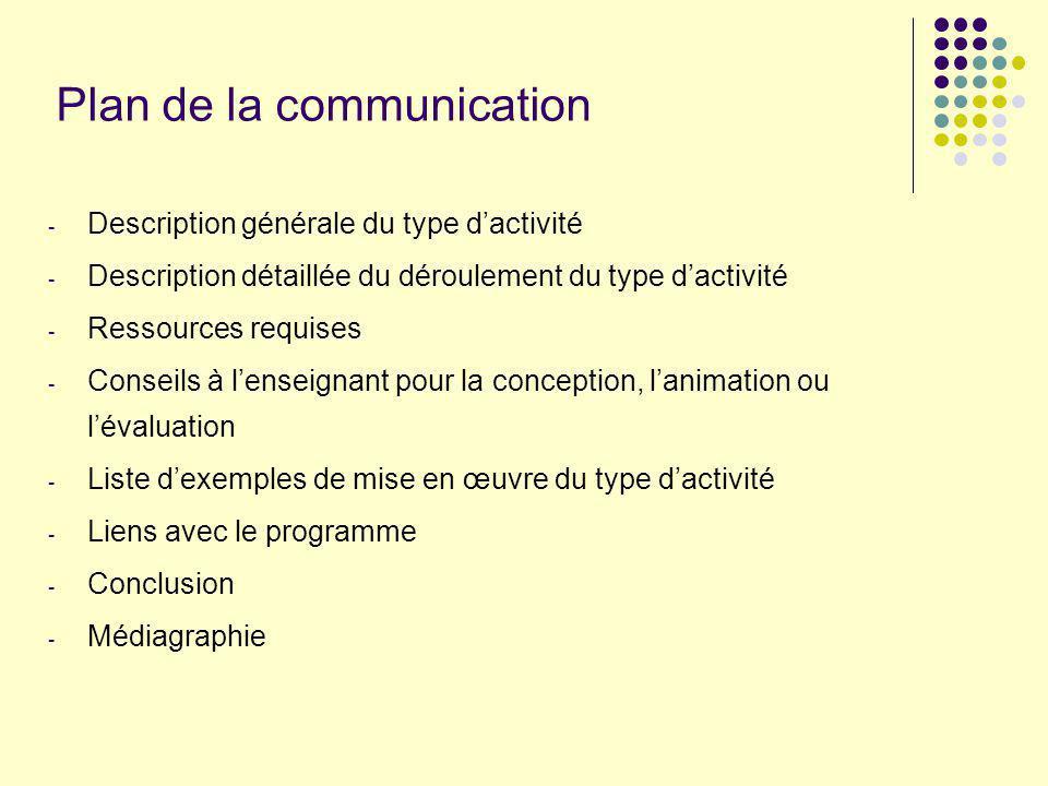 Plan de la communication - Description générale du type dactivité - Description détaillée du déroulement du type dactivité - Ressources requises - Con