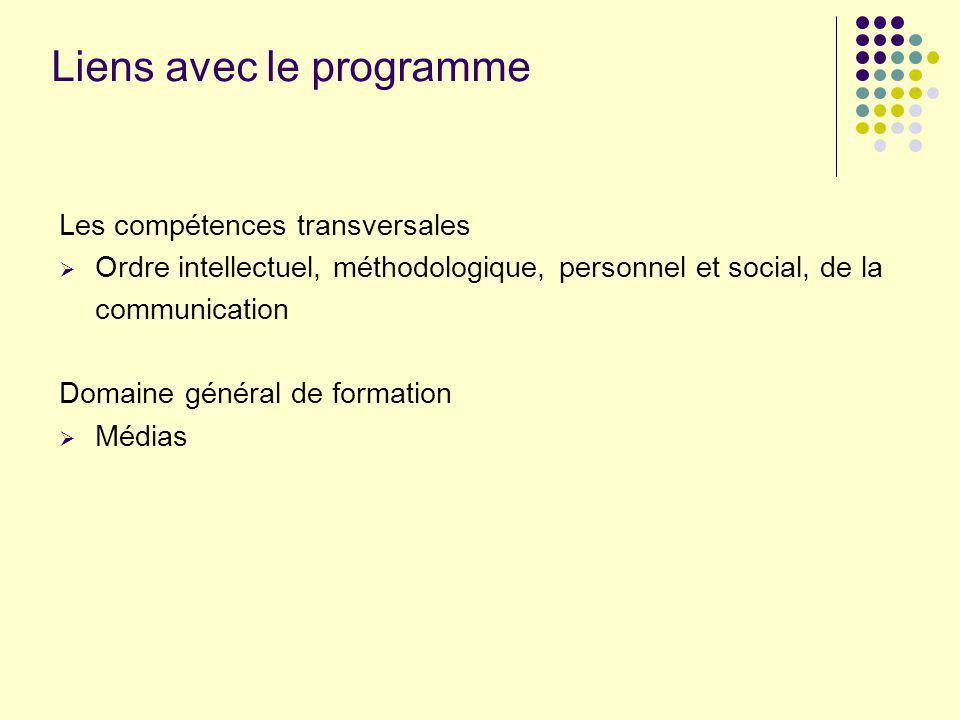 Liens avec le programme Les compétences transversales Ordre intellectuel, méthodologique, personnel et social, de la communication Domaine général de