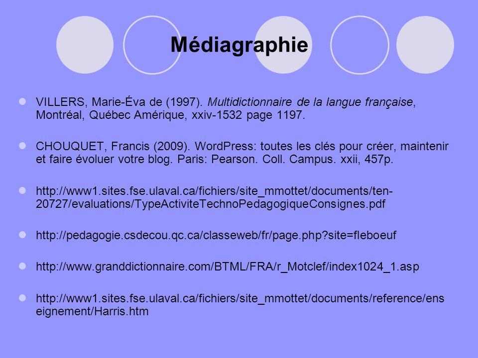 Médiagraphie VILLERS, Marie-Éva de (1997). Multidictionnaire de la langue française, Montréal, Québec Amérique, xxiv-1532 page 1197. CHOUQUET, Francis