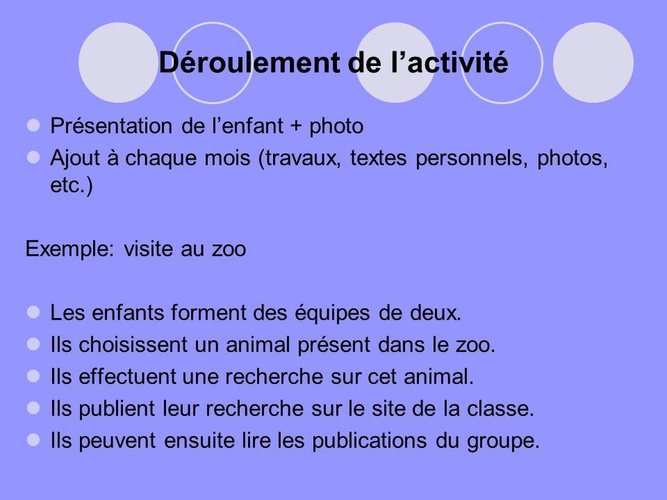 Déroulement de lactivité Présentation de lenfant + photo Ajout à chaque mois (travaux, textes personnels, photos, etc.) Exemple: visite au zoo Les enf