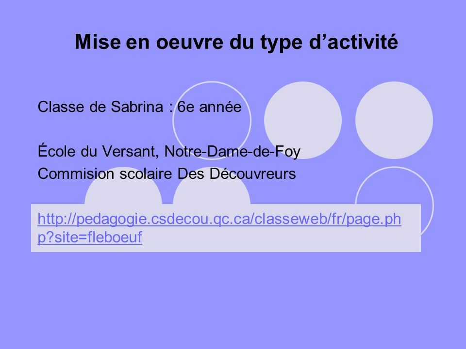 Mise en oeuvre du type dactivité Classe de Sabrina : 6e année École du Versant, Notre-Dame-de-Foy Commision scolaire Des Découvreurs http://pedagogie.