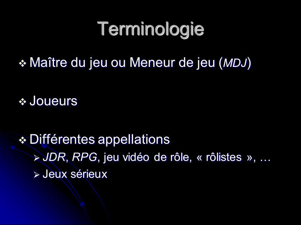 Terminologie Maître du jeu ou Meneur de jeu ( MDJ ) Maître du jeu ou Meneur de jeu ( MDJ ) Joueurs Joueurs Différentes appellations Différentes appell
