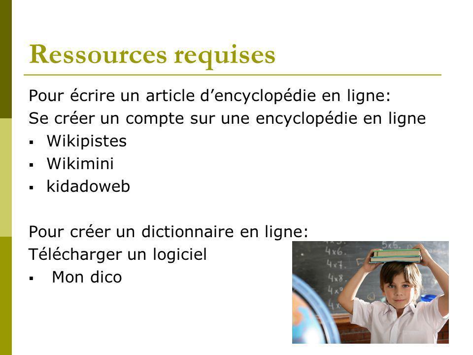 Ressources requises Pour écrire un article dencyclopédie en ligne: Se créer un compte sur une encyclopédie en ligne Wikipistes Wikimini kidadoweb Pour
