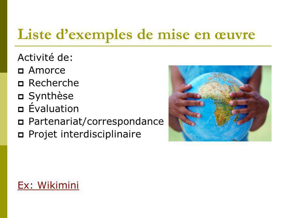 Liste dexemples de mise en œuvre Activité de: Amorce Recherche Synthèse Évaluation Partenariat/correspondance Projet interdisciplinaire Ex: Wikimini