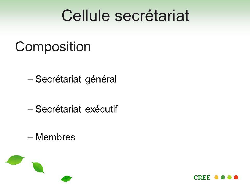 Cellule secrétariat Composition –Secrétariat général –Secrétariat exécutif –Membres