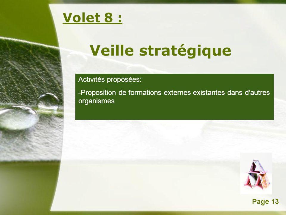 Powerpoint TemplatesPage 13 Volet 8 : Veille stratégique Activités proposées: -Proposition de formations externes existantes dans dautres organismes