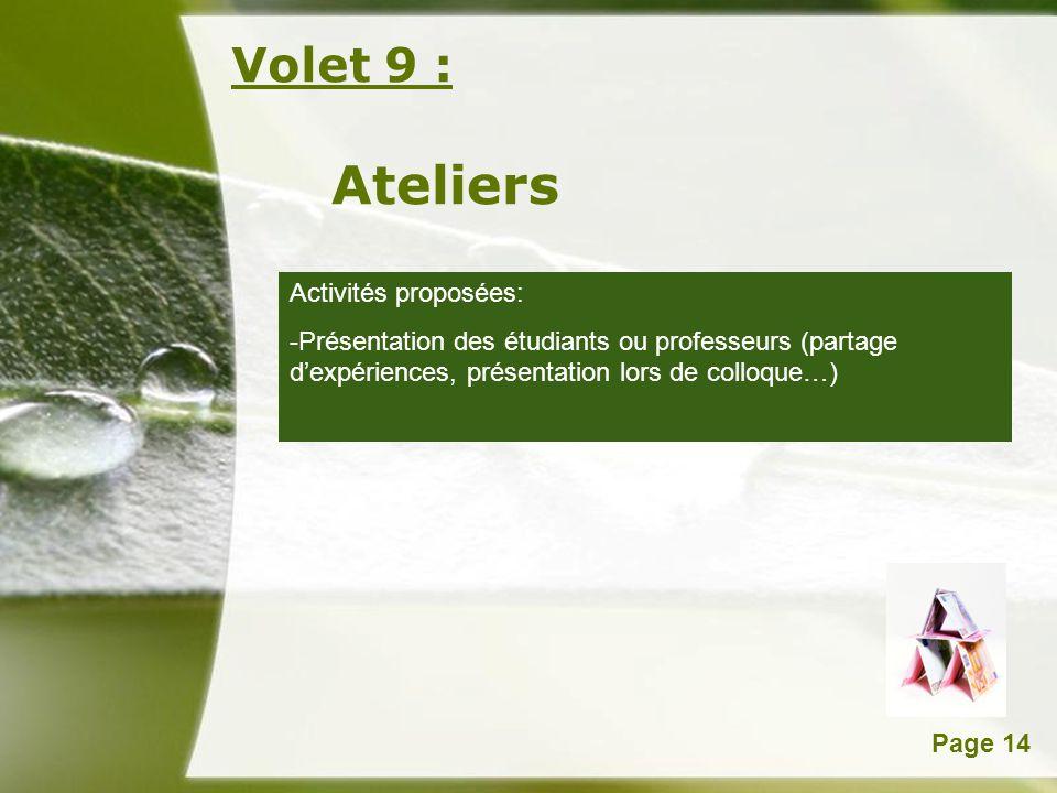 Powerpoint TemplatesPage 14 Volet 9 : Ateliers Activités proposées: -Présentation des étudiants ou professeurs (partage dexpériences, présentation lor