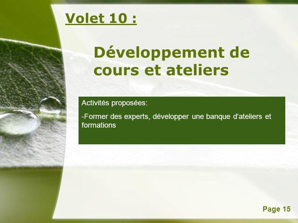 Powerpoint TemplatesPage 15 Volet 10 : Développement de cours et ateliers Activités proposées: -Former des experts, développer une banque dateliers et