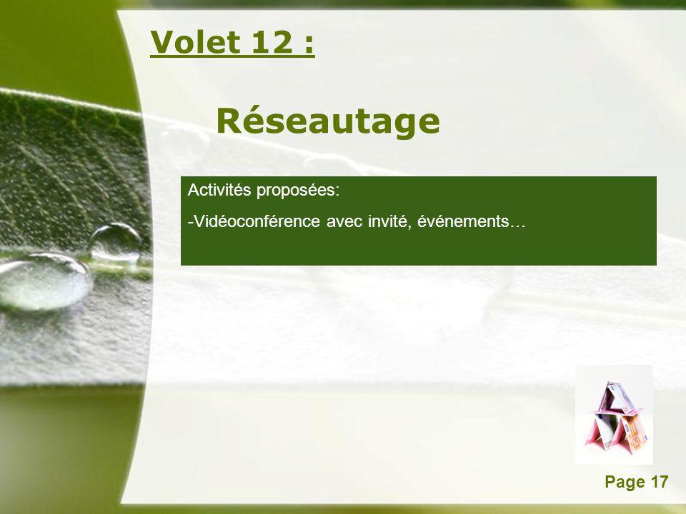 Powerpoint TemplatesPage 17 Volet 12 : Réseautage Activités proposées: -Vidéoconférence avec invité, événements…