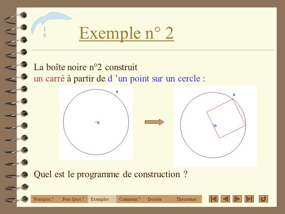 1515 Exemple n°1 ExemplesPourquoi ?Comment ?DossierThéorèmesPour Quoi ? La boîte noire n°1 construit deux segments à partir de deux cercles : Quel est