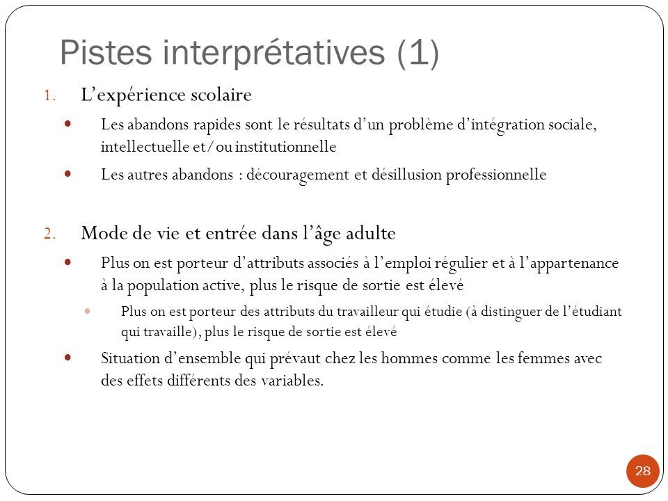 Pistes interprétatives (1) 28 1. Lexpérience scolaire Les abandons rapides sont le résultats dun problème dintégration sociale, intellectuelle et/ou i