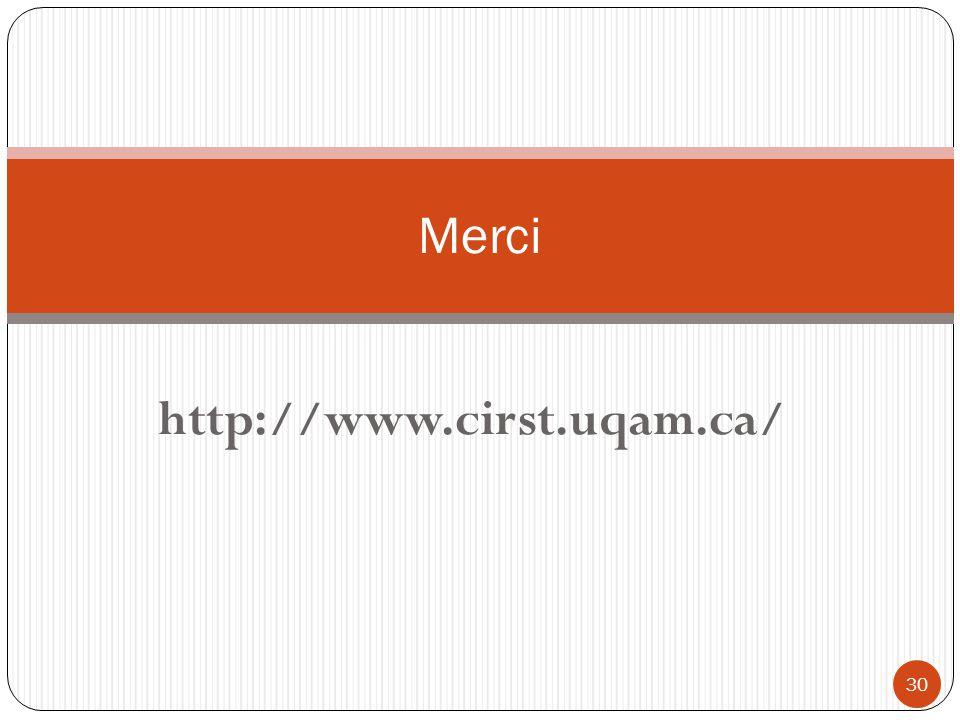 http://www.cirst.uqam.ca/ 30 Merci