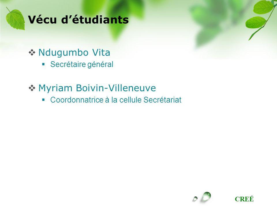 CREÉ Vécu détudiants Ndugumbo Vita Secrétaire général Myriam Boivin-Villeneuve Coordonnatrice à la cellule Secrétariat